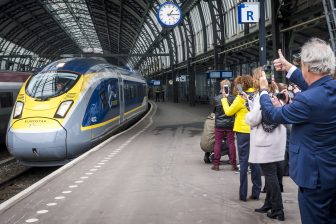 Eurostar high-speed train Amsterdam Central station