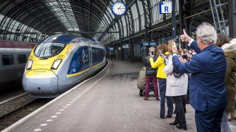 Eurostar high-speed train Amsterdam Central station