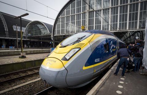 Eurostar high speed train Amsterdam Central station