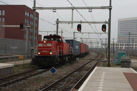 Freight train arriving in Breda