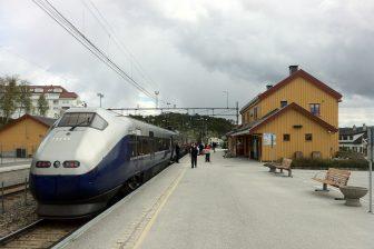 Train at Geilo railway station Norway Bane NOR