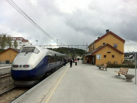 Train at Geilo railway station Norway Bane NOR