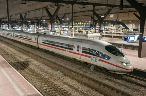 High-speed ICE train on Rotterdam Central Station
