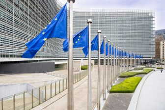 Flags in front of Berlaymont building