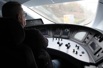 Train operator at work in the Eurostar