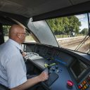 A train driver of Arriva in the Netherlands