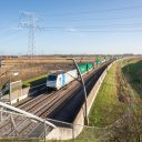 Freight train on Betuweroute, Netherlands