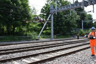 Drone employed to inspect overhead line equipment