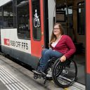 Disabled woman at Swiss station, source: SBB