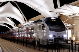 Flirt train at Dallas airport, source: Trinity Metro