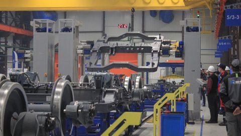 Metrovagonmash bogie assembly line, source: Metrovagonmash