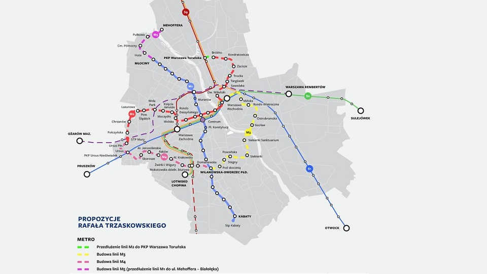 Warsaw metro extension map, source: Twitter of Rafał Trzaskowski