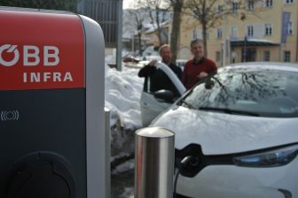 EV charging point at Bischofshofen railway station, source: ÖBB