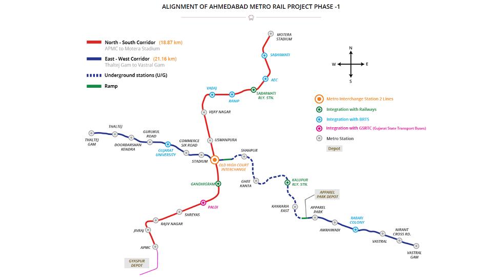 Ahmedabad Metro Phase-1 map, source: Gujarat Metro Rail Corporation