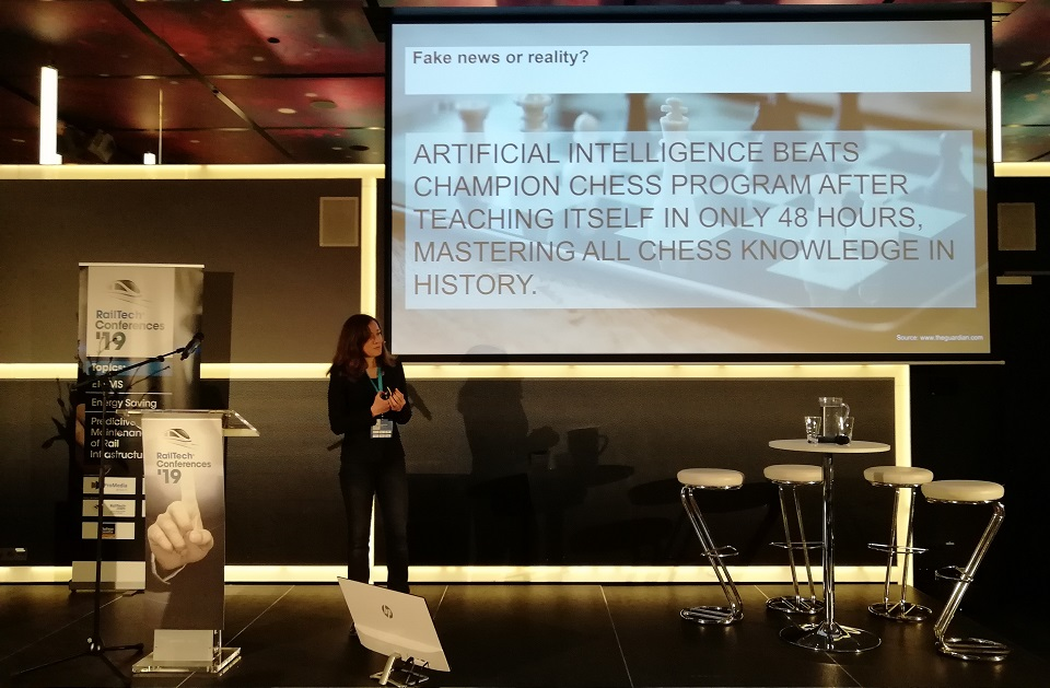 Olga Fink speaks at RailTech Conference, source: RailTech