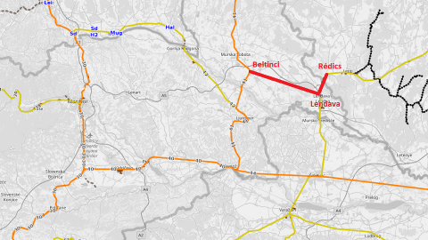 Proposed Beltinci-Lendava-Redics railway, source: OpenRailwayMap