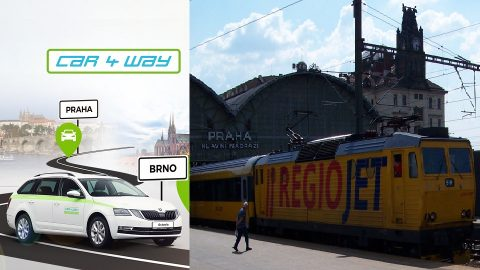 RegioJet CAR4WAY carsharing, source: RailTech collage