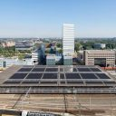 Solar panels at Eindhoven railway station, source: ProRail