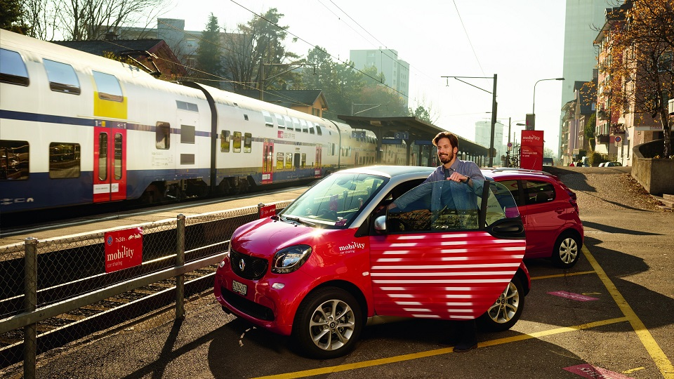 SBB Mobility Click & Drive service at Swiss train station, source: SBB