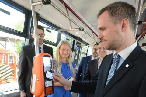 Zdenek Hrib tests ticket machine in Prague tram, source: City of Prague