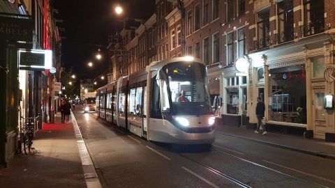 Night tests of Urbos tram in Amsterdam, source: GVB