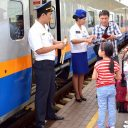 Passengers boarding on Kazakh train, source: Kazakhstan Temir Zholy (Kazakhstan Railways)
