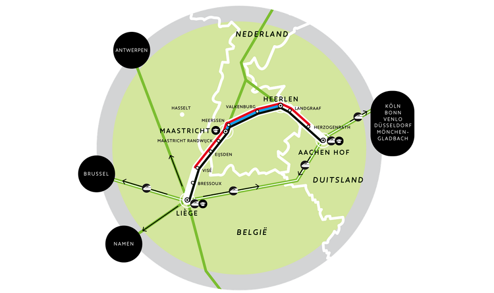 The route of the Aachen - Maastricht - Liege train, source: Eurekarail