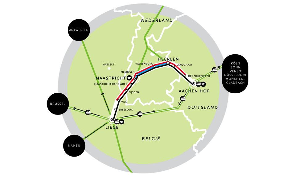 The route of the Aachen - Maastricht - Liege train, source: Eurekarail