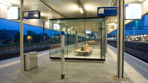 Smoking zone at train station in Netherlands, source: ProRail