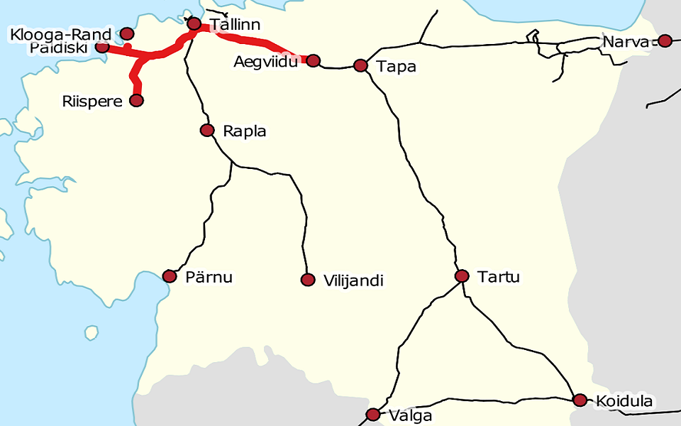 Estonian railway network, source: Wikimedia Commons