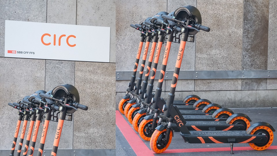 Circ e-scooters at Zurich railway station, source: Circ