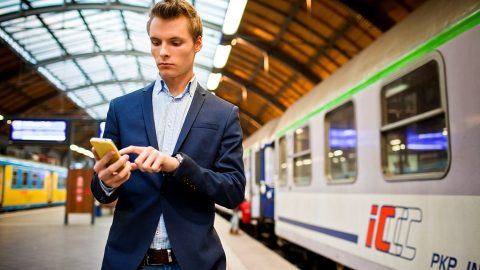 A passenger buys a ticket for PKP Intercity train via the mobile application, source: PKP Intercity