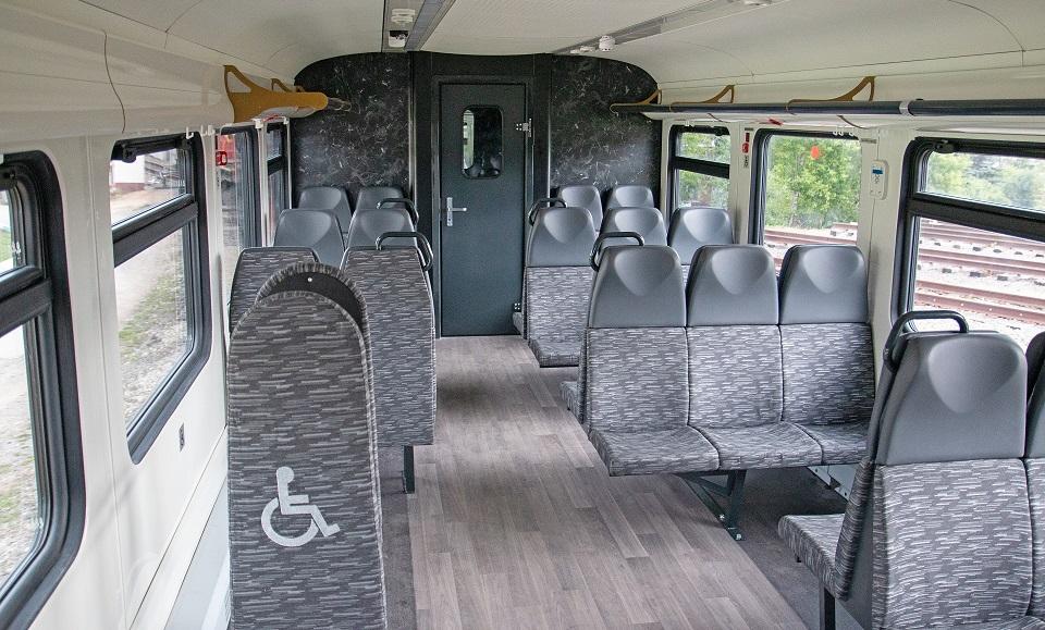 Interior of RA-3 railbus, source: Metrovagonmash