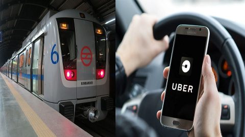 Metro train and Uber, source: collage made by RailTech