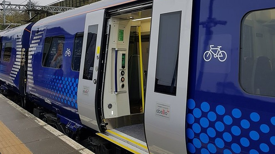 ScotRail train with bicycle sign