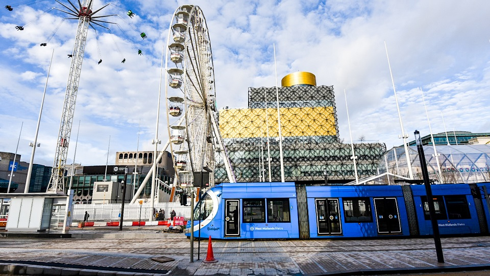 Urbos tram in Birmingham, source: Transport for West Midlands (TfWM)
