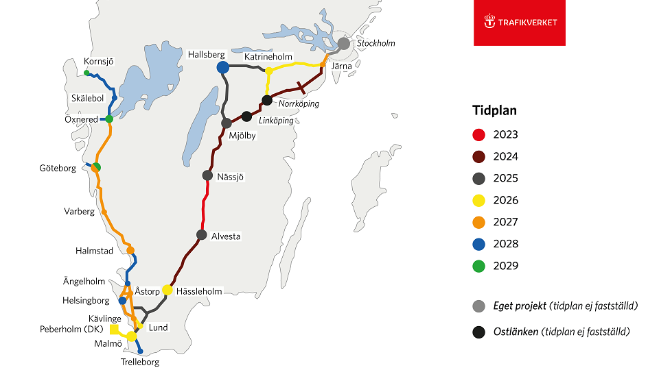 ERTMS deployment in southern Sweden, source: Trafikverket