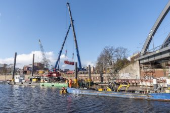 The preparatory works for demolishing the Bille bridge in Hamburg