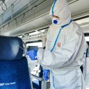 Disinfecting trains with titanium dioxide