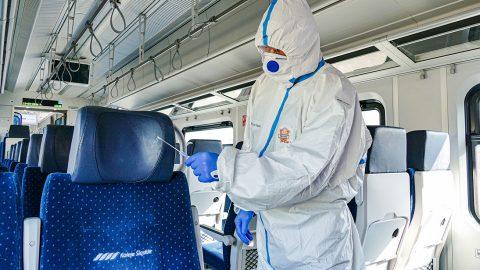 Disinfecting trains with titanium dioxide