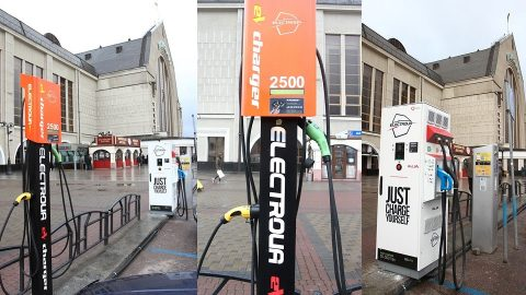 EV charging points at Kyiv-Passenger railway station, source: ElectroUA