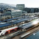 Solar panels at Dammen railway station in Norway, source: Bane NOR