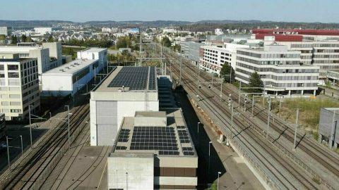 Solar panels at Zürich Seebach railway station, source: SBB