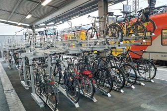 Bicycle parking area at Aschaffenburg train station in Bavaria
