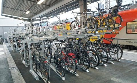 Bicycle parking area at Aschaffenburg train station in Bavaria