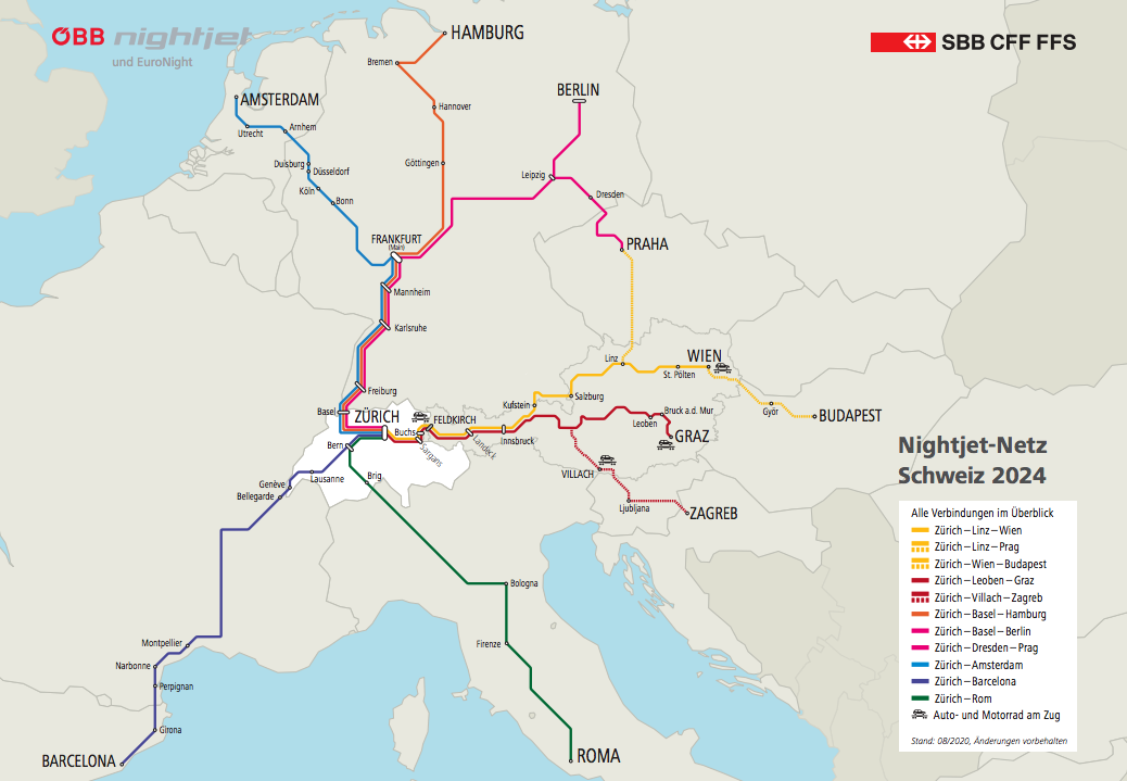A map of the Nightjet Network Switzerland 2024