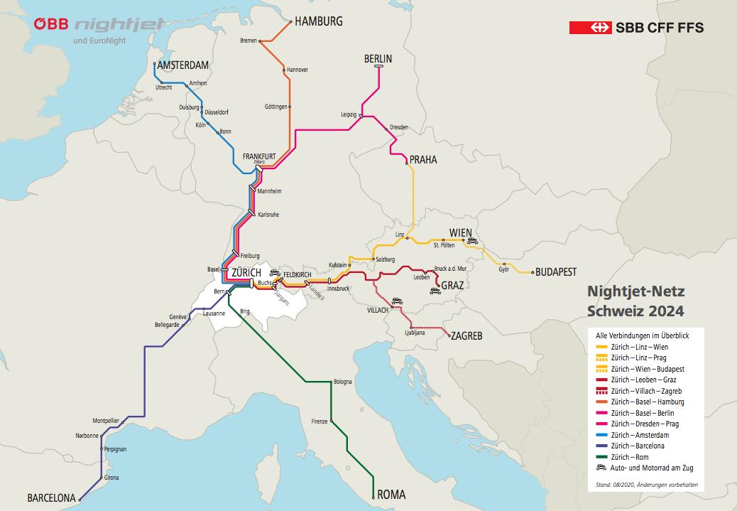 A map of the Nightjet Network Switzerland 2024