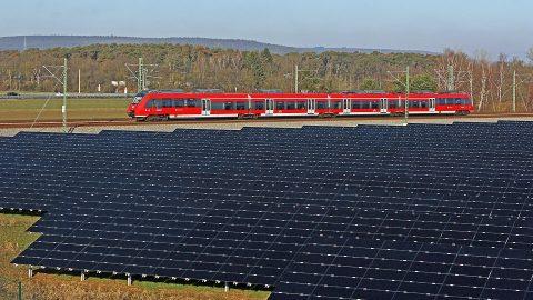 Solar panels along the tracks of Nuremberg S-Bahn in Bavaria