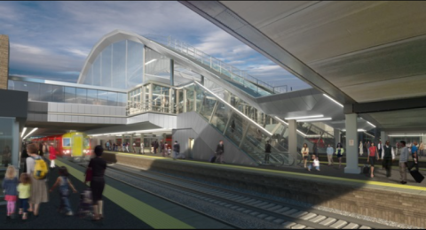 Gatwick Airport station passenger concourse impression