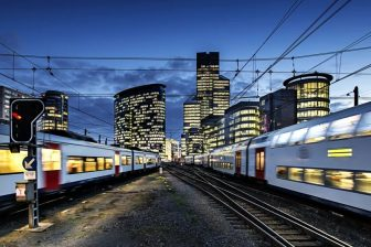 Trains at night in Belgium, photo: NMBS